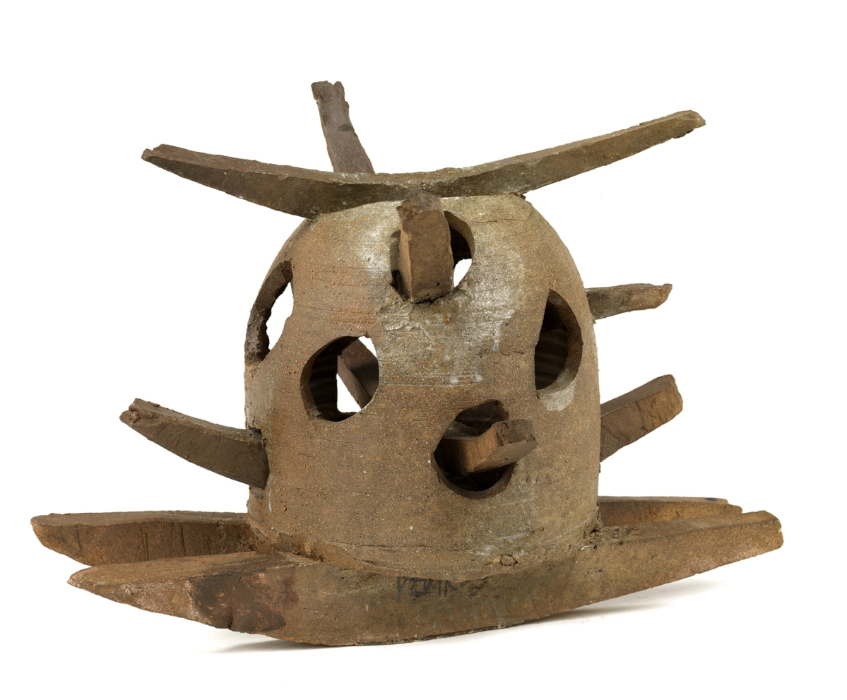 """Rocking Pot,"" 1956, stoneware and colemanite wash, thrown and slab constructed, assembled. Smithsonian American Art Museum, gift of the James Renwick Alliance and various donors and museum purchase, 1983."