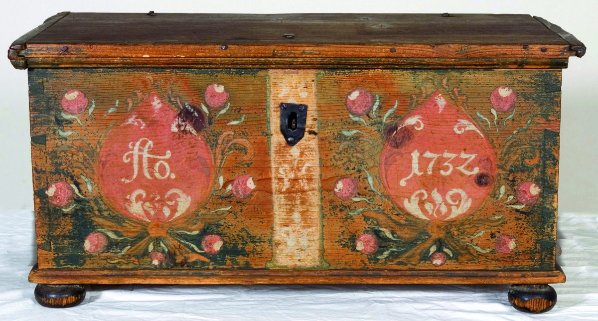 Chest brought to Pennsylvania by Schwenkfelder immigrants, made in Herrnhut, Saxony, 1732.