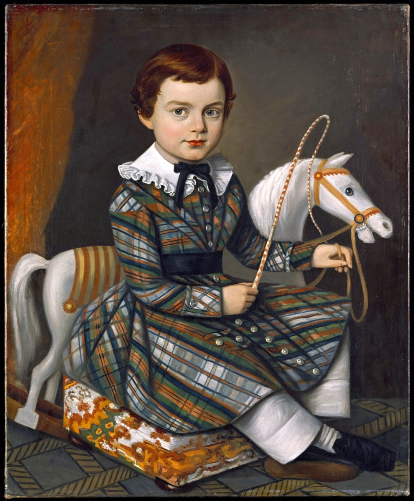 """Boy in Plaid,"" New England, circa 1845, oil on canvas, gift of Abby Aldrich Rockefeller."
