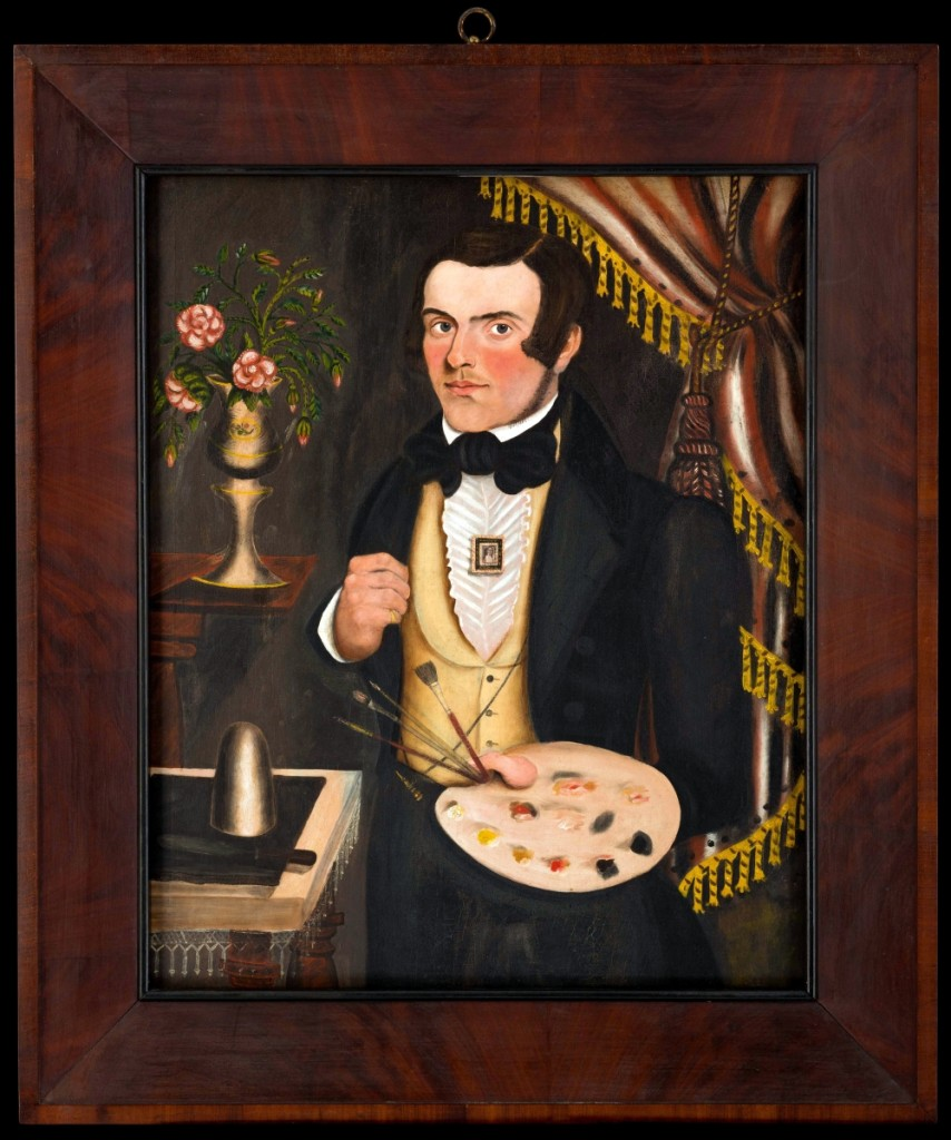 """Self-Portrait of Jonathan Adams Bartlett,"" Jonathan Adams Bartlett, South Rumford, Maine, probably 1841, oil on canvas, museum purchase."