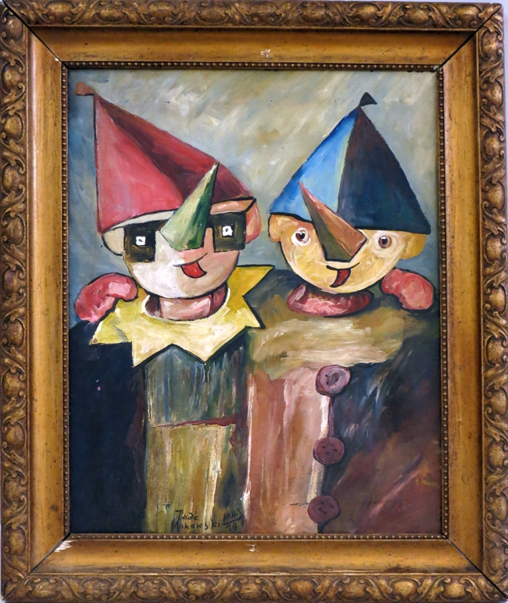 "Scenes of carnivals and children were among the favorite subjects of Polish artist Tadeusz Makowski. This one with two children was titled ""La petite famille"" and reached $8,400."