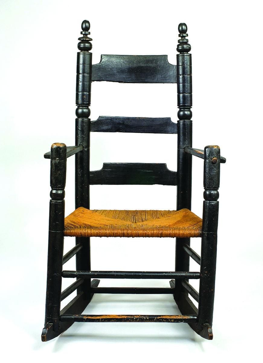 This turned great chair is one of the earliest objects in the exhibition, probably made in Boston or Charlestown, circa 1650–85. In all likelihood, it is one of the earliest surviving pieces of furniture with a continuous history in the greater Seacoast area. According to the research of Connie Hellwig, Bob Barth and Hollis Brodrick, this monumental armchair was probably owned originally by Robert Burnham (1615–1691), who settled in the Seacoast area about 1655. Private collection.