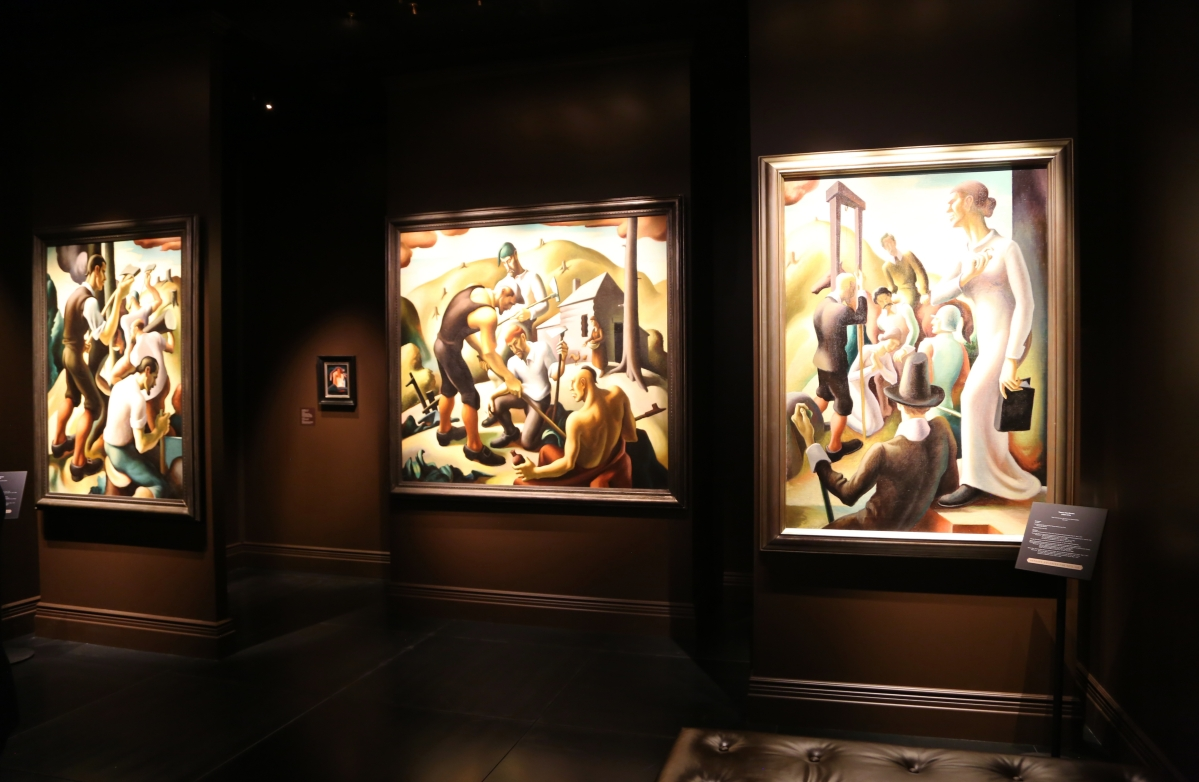 "Three murals from Thomas Hart Benton's ""The American Epic"" were on offer at Bernard Goldberg Fine Arts, New York City."