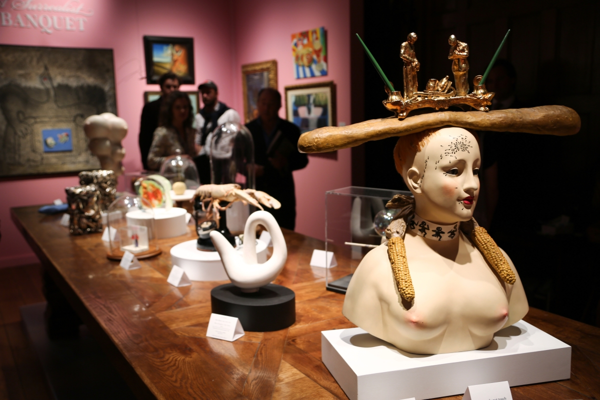 """A Surrealist Banquet"" was on offer at New York City gallery Di Donna. Pictured front is ""Buste de femme rétrospectif,"" by Salvador Dalí, bronze and mixed media."
