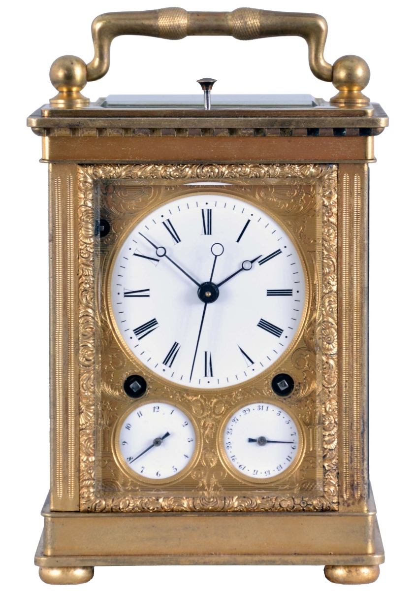 Attributed to Courvoisier, La Chaux de Fonds, Switzerland, this quarter striking carriage clock, in a gilt-bronze case with alarm and date displays, was one of the four lots for which Horan had produced videos on Facebook. It earned $9,440 and sold to a buyer in England.