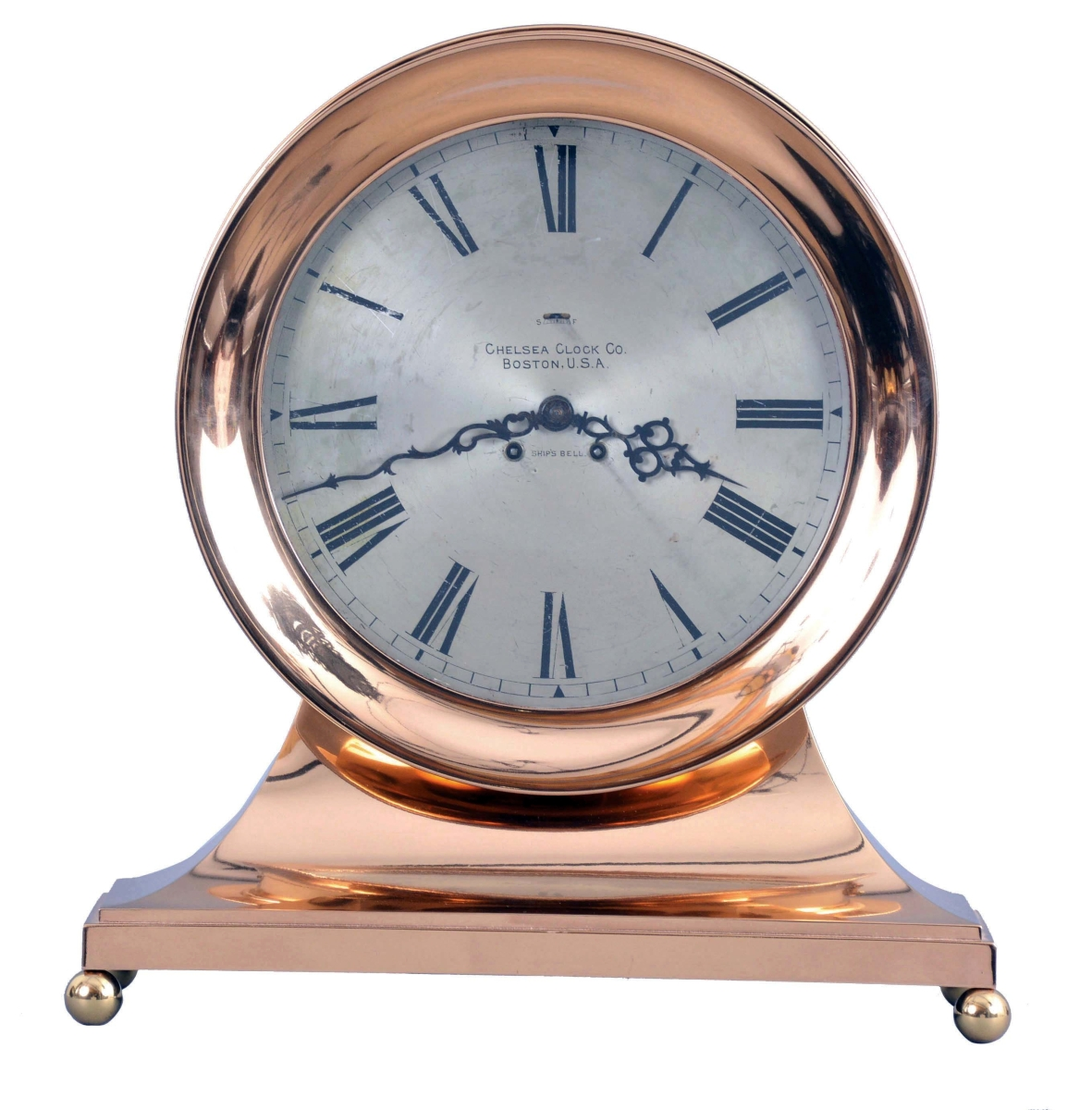Made by the Chelsea Clock Co., Boston, this base and ball shelf clock had a 12-inch dial and a bronze case. The final price was $12,980, more than twice its estimate.