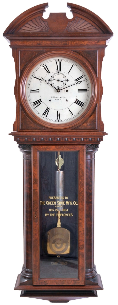 "The top selling lot of the sale, at $100,300, was this presentation #57 jeweler's regulator made by E. Howard & Co., Boston. More than 5 feet tall, it was reverse painted, ""The Green Shoe Mfg. Co. (Inc.) Nov. 24, 1924. By The Employees."""