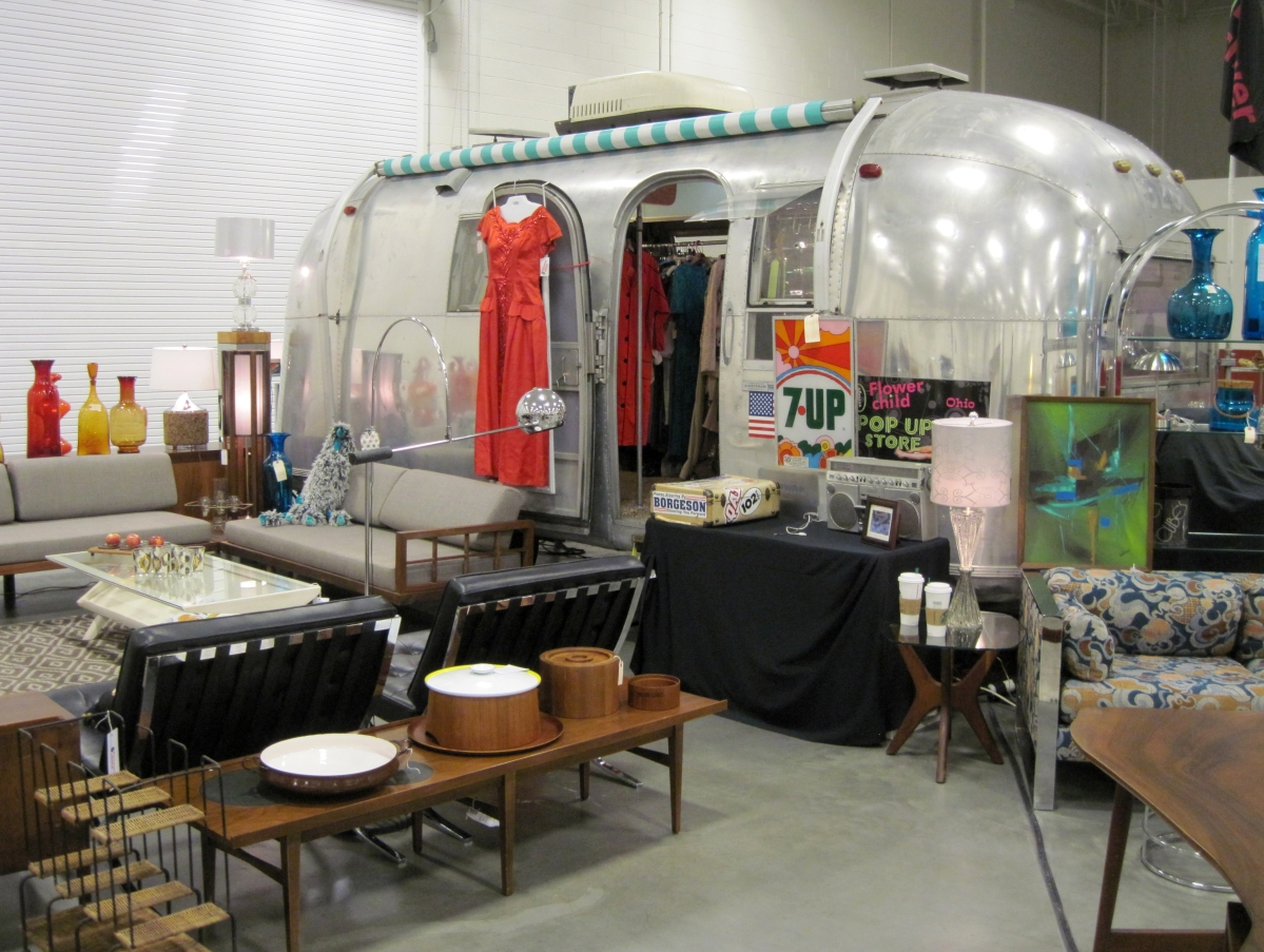 Flower Child, Columbus, Ohio, restored an older Airstream trailer as its display.