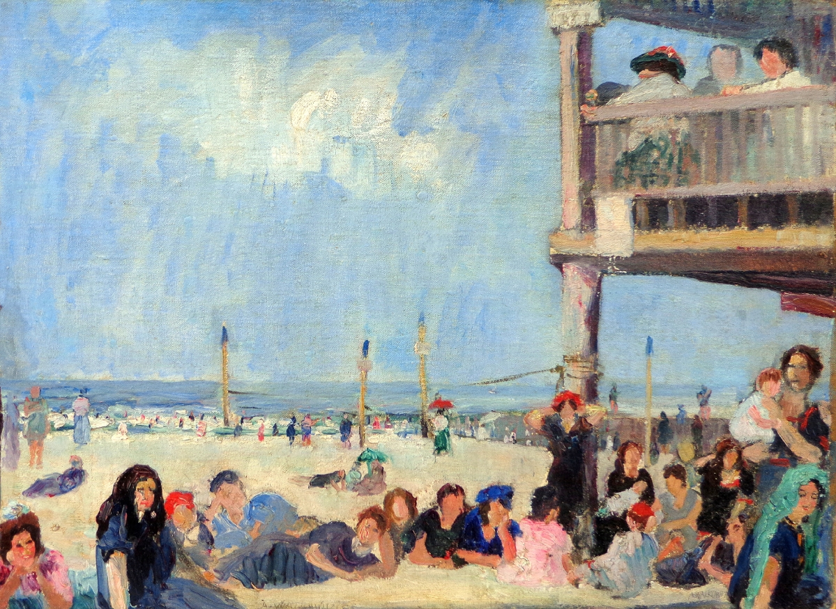 """Coney Island,"" Abraham Walkowitz (1878–1965), oil on canvas, 16 by 22 inches."
