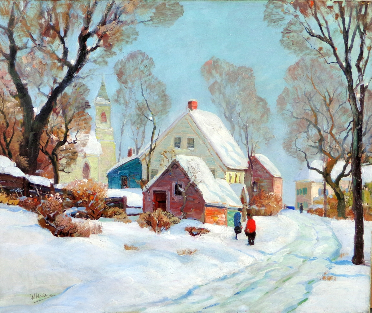 """Rockport Winter,"" Anthony Thieme (1888–1954), oil on canvas, 30 by 36 inches."