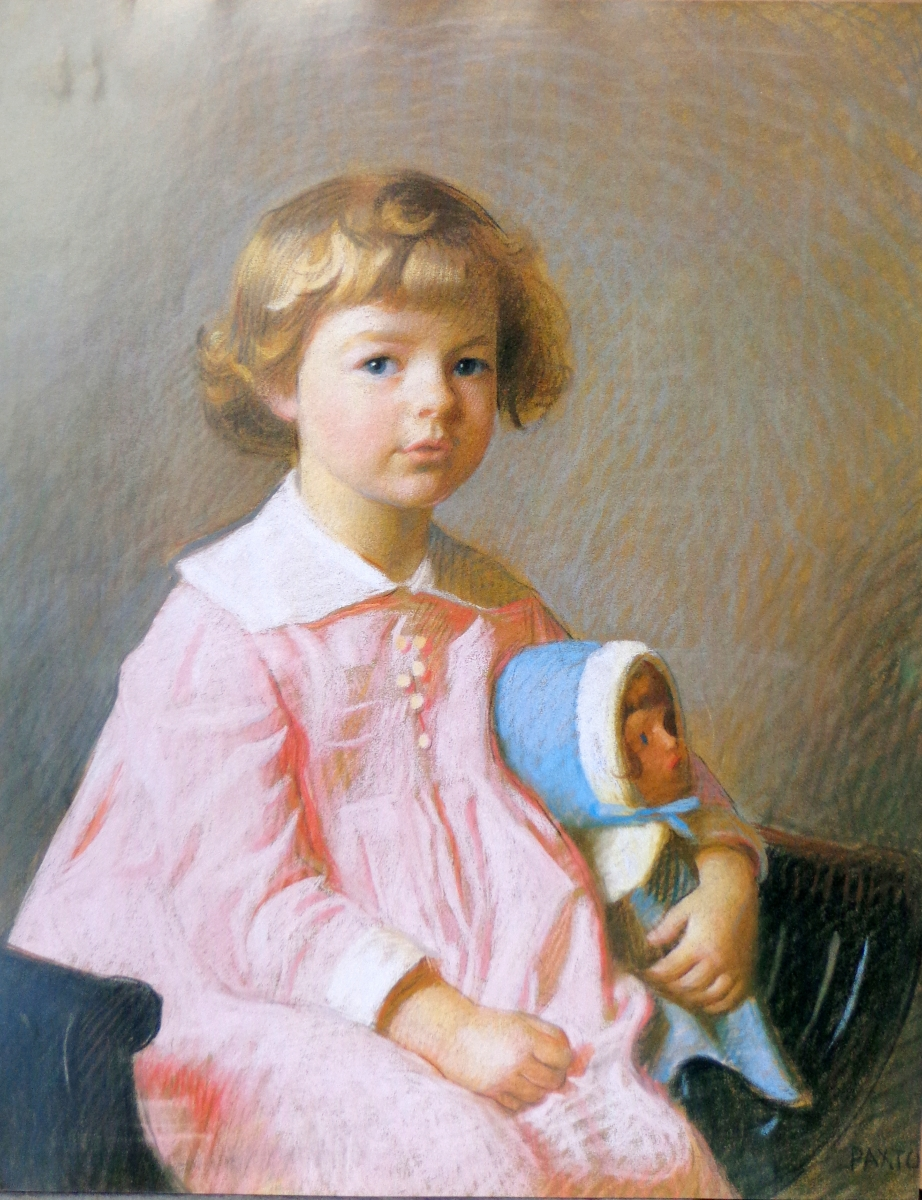 """Girl in Pink,"" William Paxton (1869–1941), pastel, 30 by 25 inches."