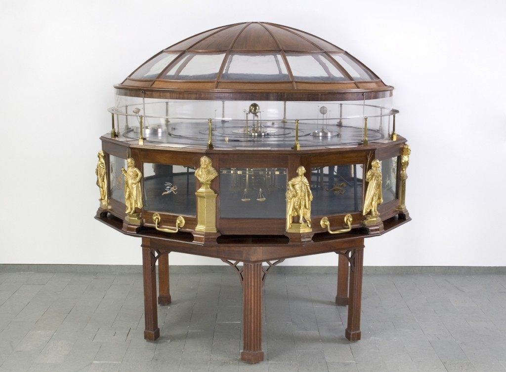 Joseph Pope, with the possible assistance of Simeon Skillin and Paul Revere, Grand Orrery, 1776–87; mahogany, brass, bronze, reverse-painted glass and ivory, with dome perhaps added later, in the early Nineteenth Century. Collection of Historical Scientific Instruments, Harvard University. Photo courtesy the Collection of Historical Scientific Instruments, ©President and Fellows of Harvard College.