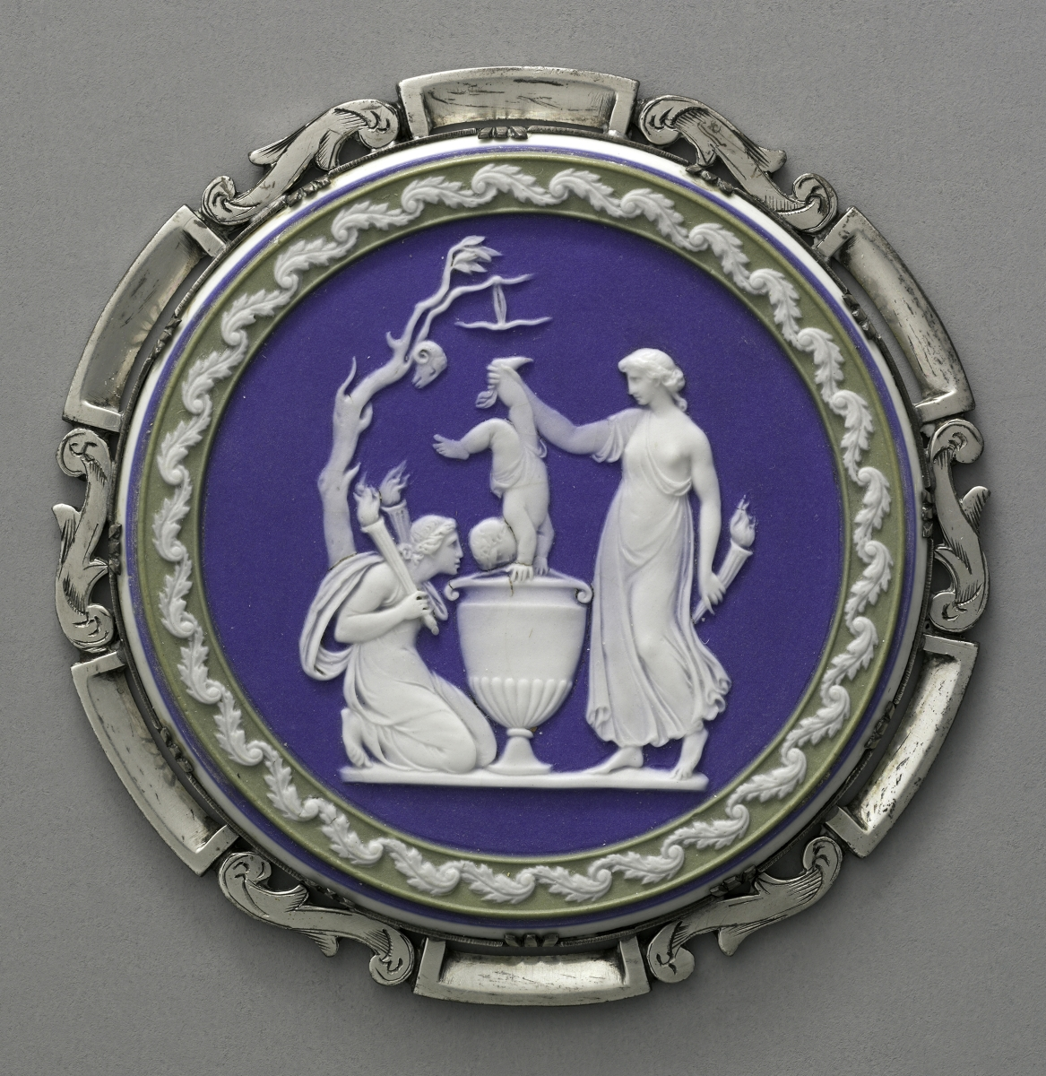 "Wedgwood Pottery, ""The Dipping of Achilles,"" late Eighteenth Century, white jasperware body with blue glaze. Harvard Art Museums/Fogg Museum, bequest of Grenville L. Winthrop. —Harvard Art Museums photo, ©President and Fellows of Harvard College"