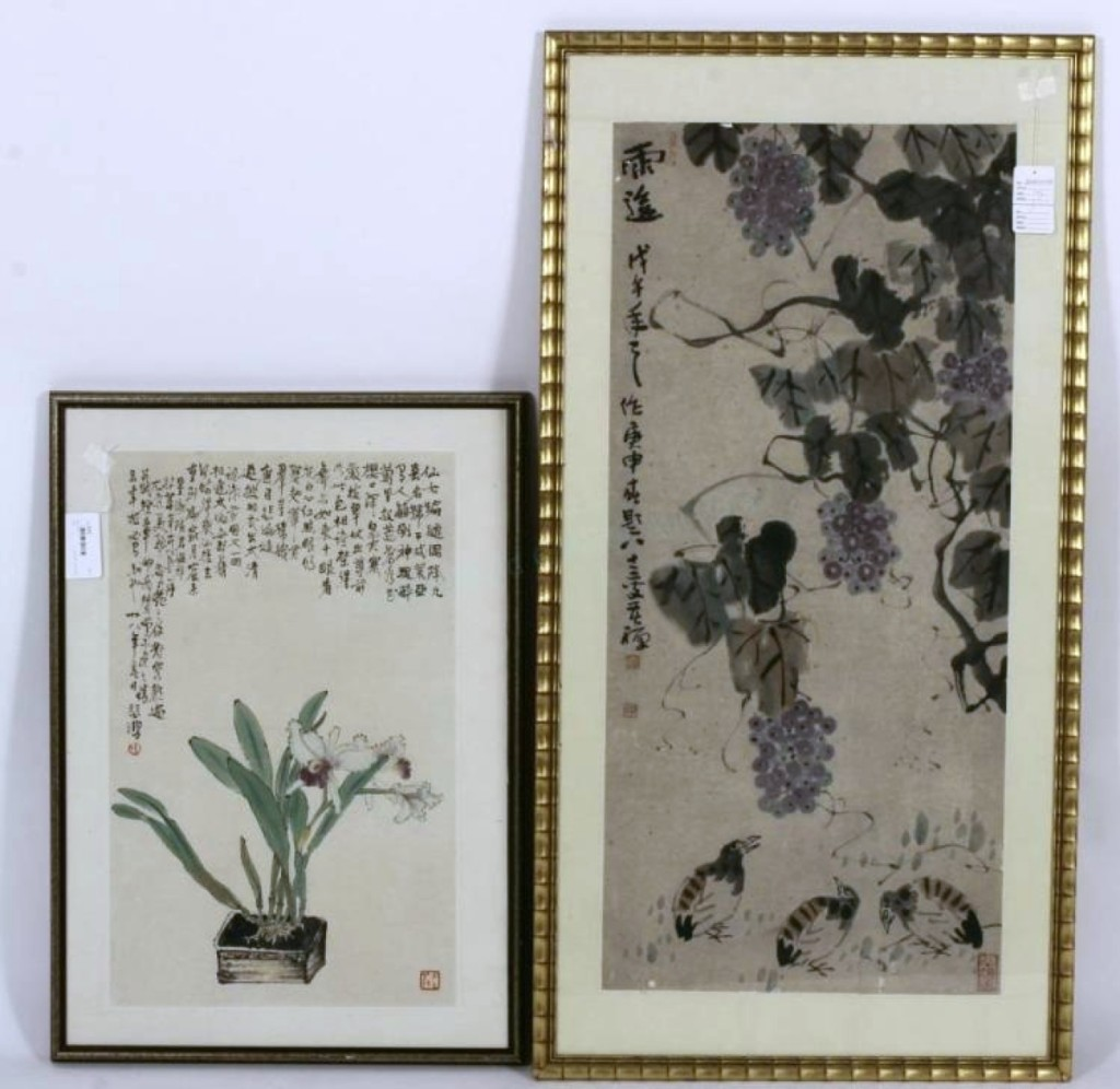 A lot of two Asian watercolors on paper, Twentieth Century ($400/600) achieved $9,375.