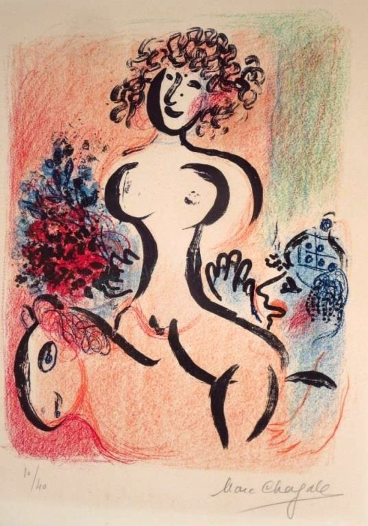 "A Marc Chagall lithograph, ""Ecuyere au Bouquet,"" made $6,875."