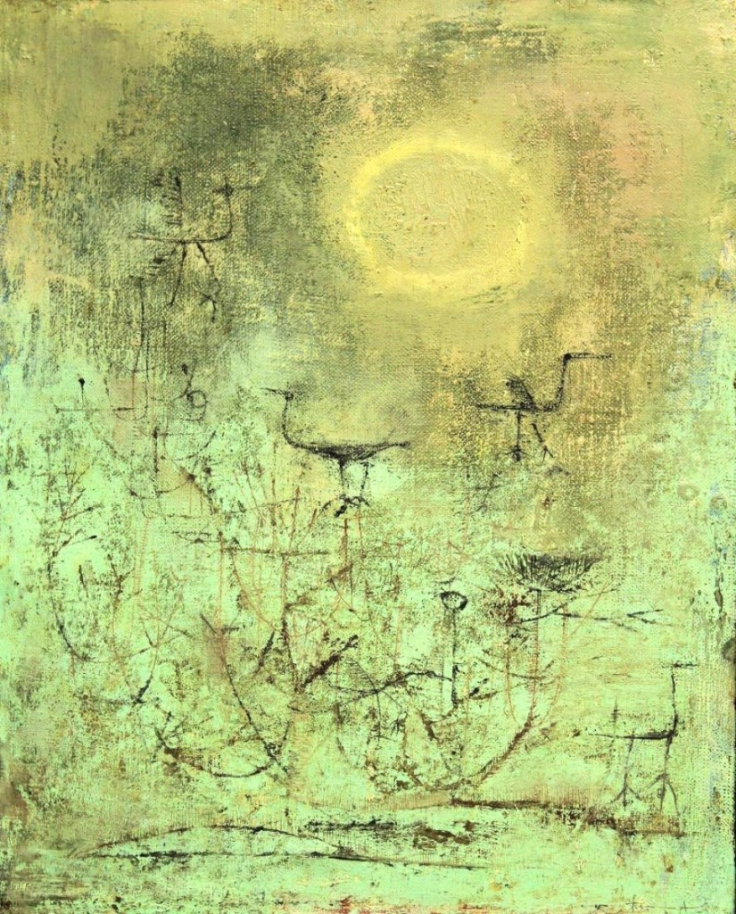 "The top lot of the auction was this oil on canvas by Zao Wou-Ki (b 1921, Chinese French), ""Oiseaux Dans Les Nids,"" 1951, which attained $487,500."