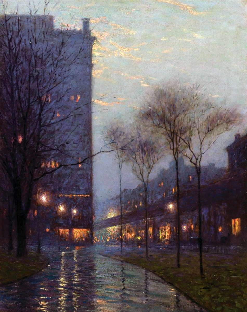 """Bryant Park at Evening, New York"" by Birge Harrison (1854–1929), oil on canvas, 30 by 24 inches, $60,000 ($60/80,000)."