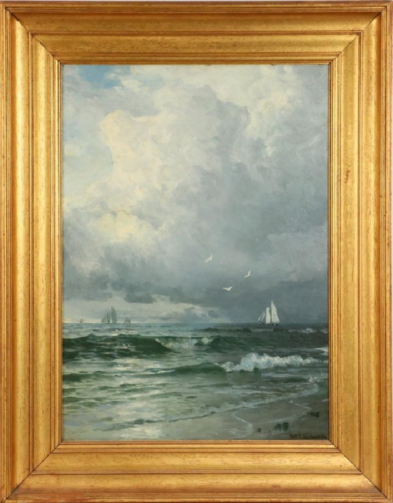 "William Trost Richards was best known for his marine scenes. This one, depicting a stormy sky, chopping sea and schooners, realized $32,175. Another by the artist, ""The Old Fort"" in Jamestown, R.I., reached $20,475."