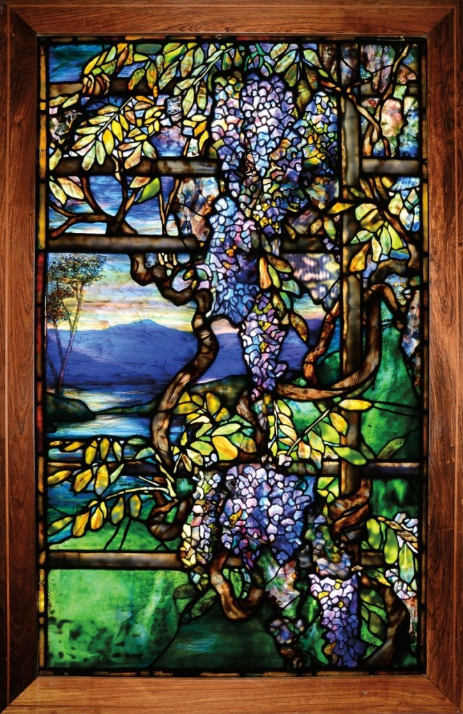A spectacular Tiffany Studios Wisteria leaded glass window also shattered its estimate and sold for $257,850.