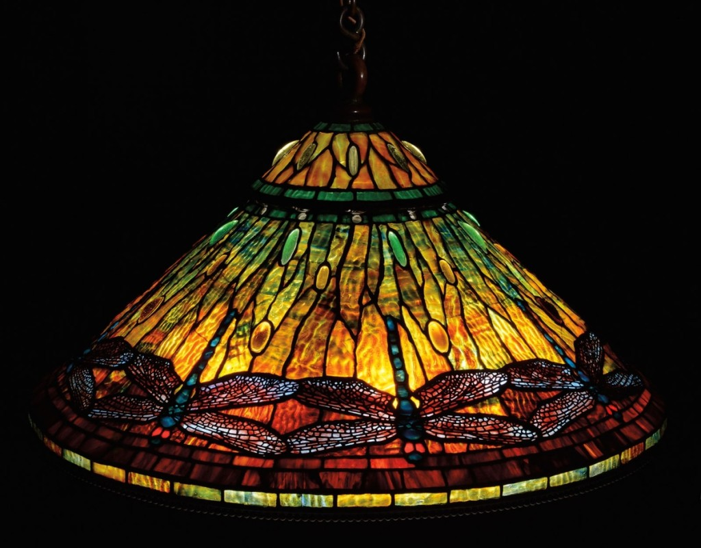 Fetching $228,100, well over its $150,000 high estimate, was an extraordinary Tiffany Studios Dragonfly chandelier.