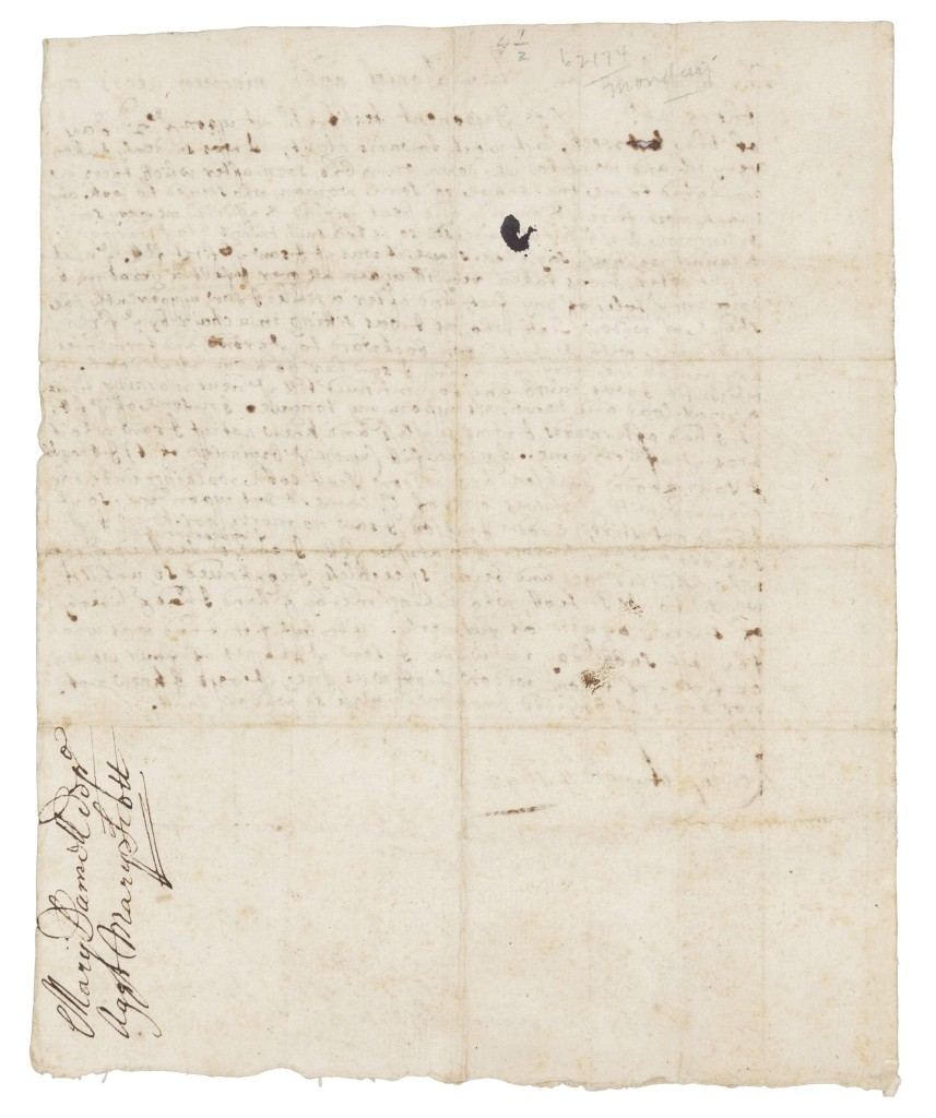 Salem Witch Trials – manuscript document, the deposition of Mary Daniel against Margaret Scott, Rowley, Mass., August 4, 1692, realized $137,500 (world auction record for Salem artifact).