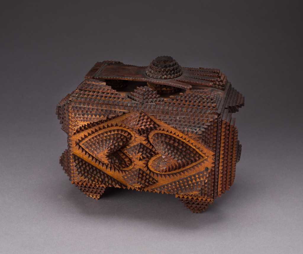Tramp art keepsake box with hand and hearts, United States, late Nineteenth to early Twentieth Century. Courtesy of Robin Small.  —Clare Britt photo