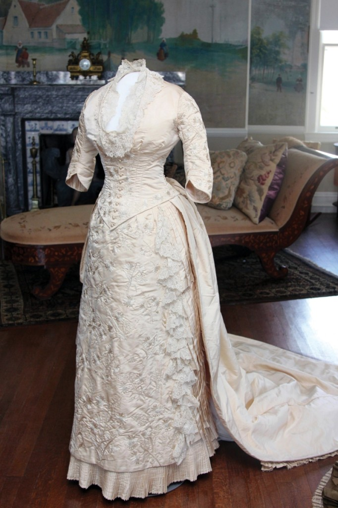 In September 1882, Bessie and Augustus Van Wickle were married in Hazleton, Penn. Bessie's gown was made for her by N.G. Kirkbride in Philadelphia: it is a two-piece dress of bodice and separate skirt.