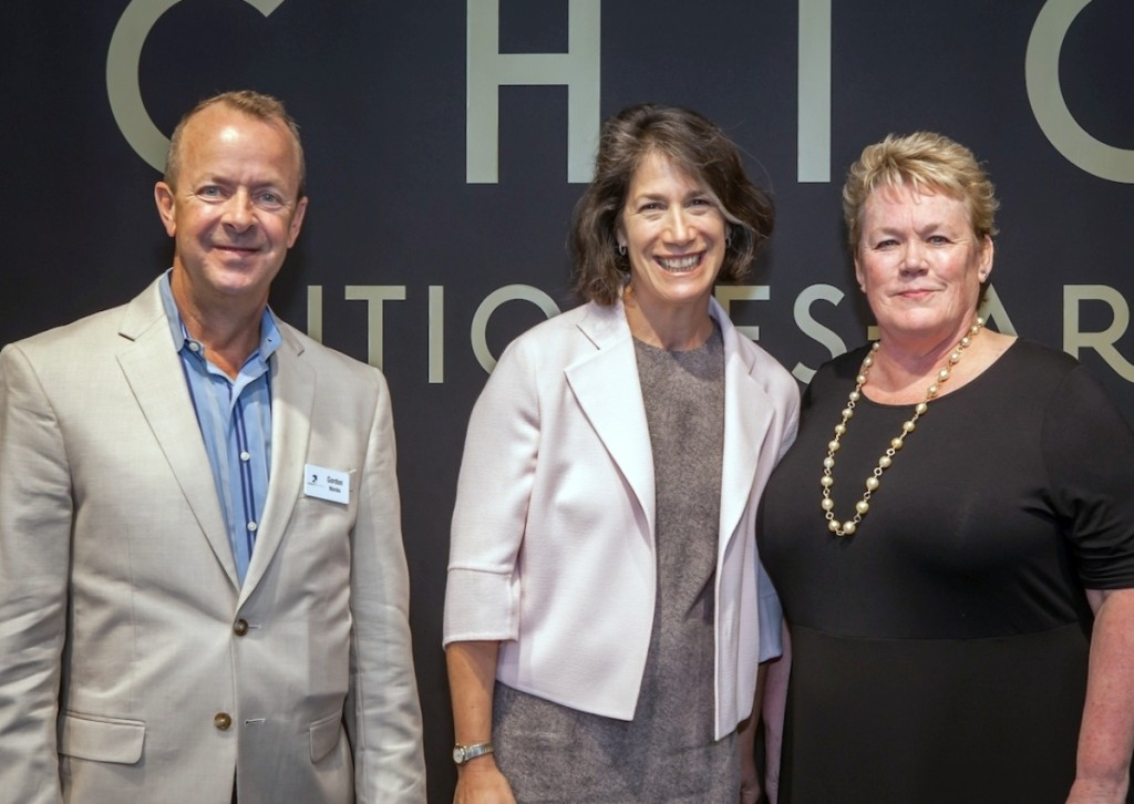 Dolphin Promotions media director Gordon Merkle and president Rosemary Krieger, left and right, with Illinois First Lady Diana Rauner, chair of the board of directors of the Illinois Executive Mansion Association, the preview party beneficiary.