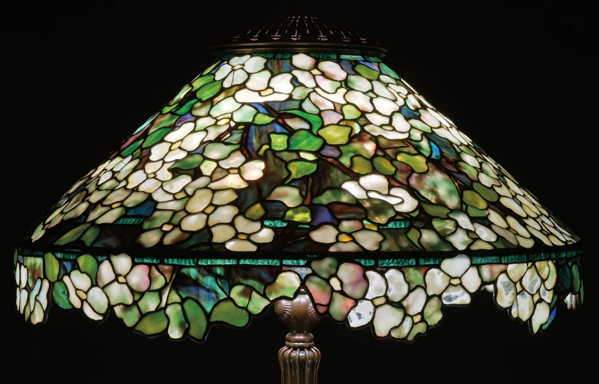 a4e0369856b This rare Tiffany Studios floor lamp with all over dogwood design and an  unusual irregular floral