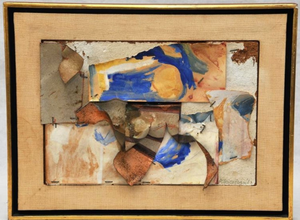 The highest priced item in the sale was this mixed media collage by John Angus Chamberlain, which brought $70,200 from a dealer in the room, who bought it for inventory. It was made of painted paper and metal mounted to fiber board with staples, and was signed and dated 1962.