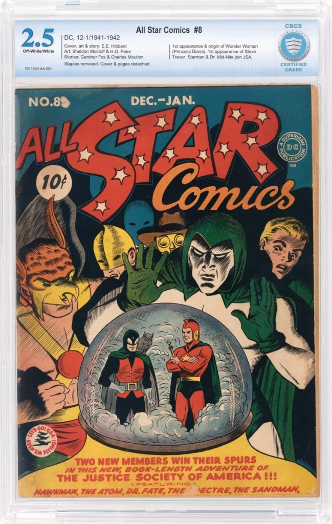 All Star Comics #8, Dec. 1941/Jan. 1942, first appearance of Wonder Woman, took $31,925.