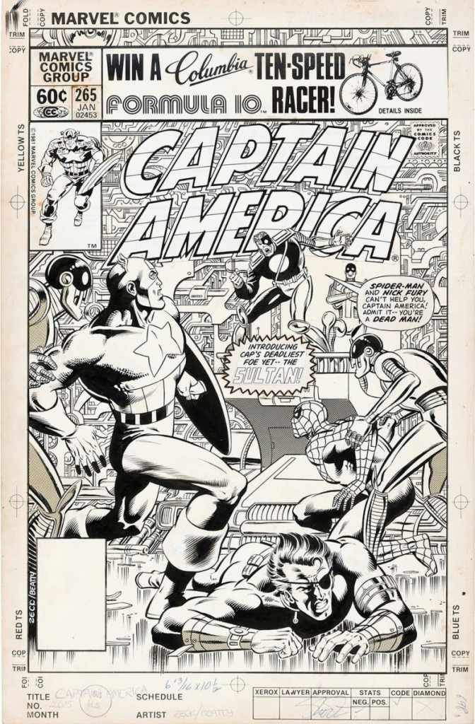 Mike Zeck's original cover art for Captain America #265 comic book, January 1982, featuring Spider-Man and Nick Fury included a selection of 22 lots consisting of cover art and all interior story pages. In all, the collection made $35,325.