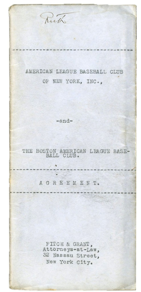 The physical manifestation of the Curse of the Bambino, this is one of three total copies of the trade agreement between the Boston Red Sox and the New York Yankees for the 1920 trade of Babe Ruth. The trade began an 86-year drought for the Sox as the Babe went on to win four World Series with the Yankees in the next 14 years. It was the top lot of the sale at $2,303,320.