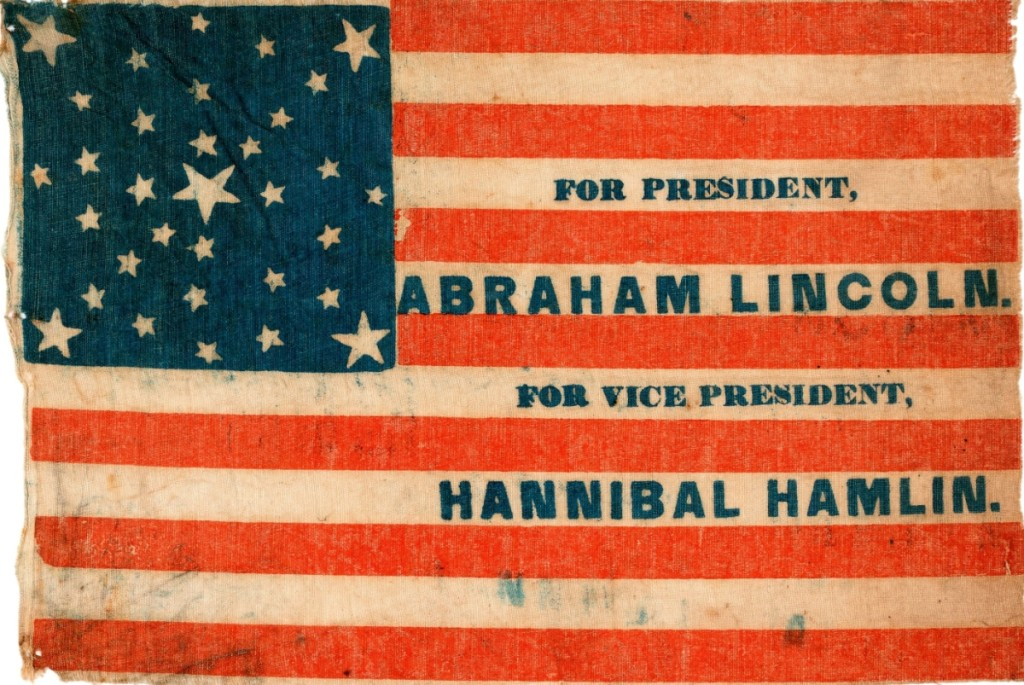 "The 1860 glazed-cotton parade flag emblazoned ""For President, Abraham Lincoln"" and ""For Vice President, Hannibal Hamlin"" sold for a record $40,124."