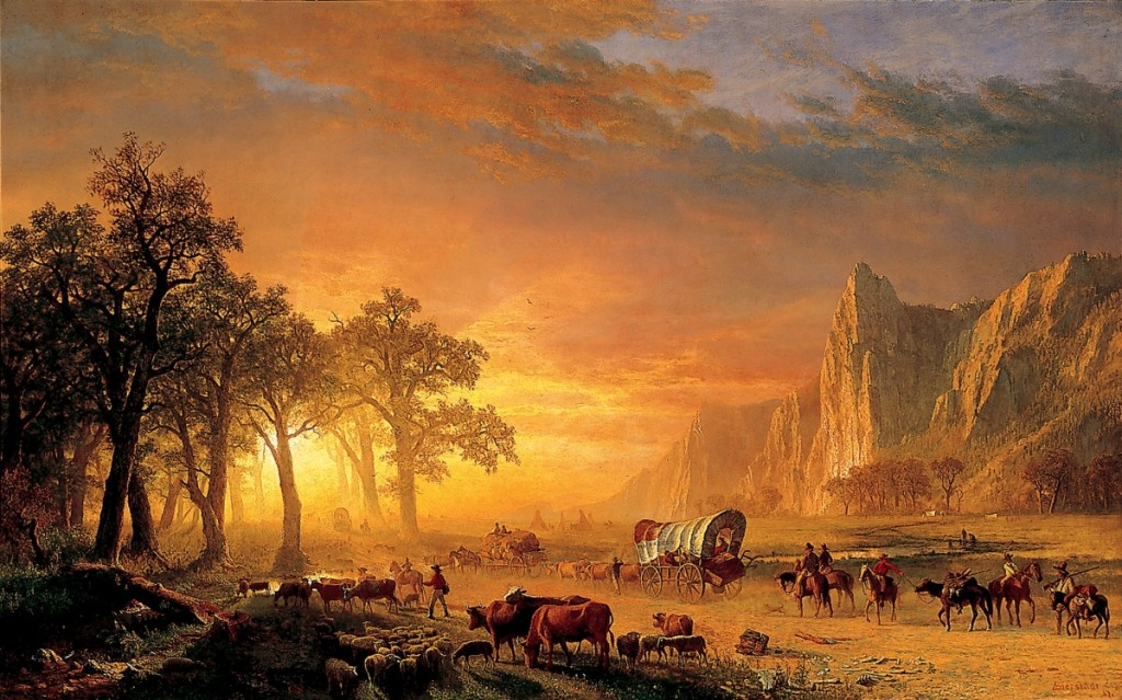 """Emigrants Crossing the Plains"" by Albert Bierstadt (1830–1902), 1867. Oil on canvas, 60 by 96 inches. National Cowboy & Western Heritage Museum"