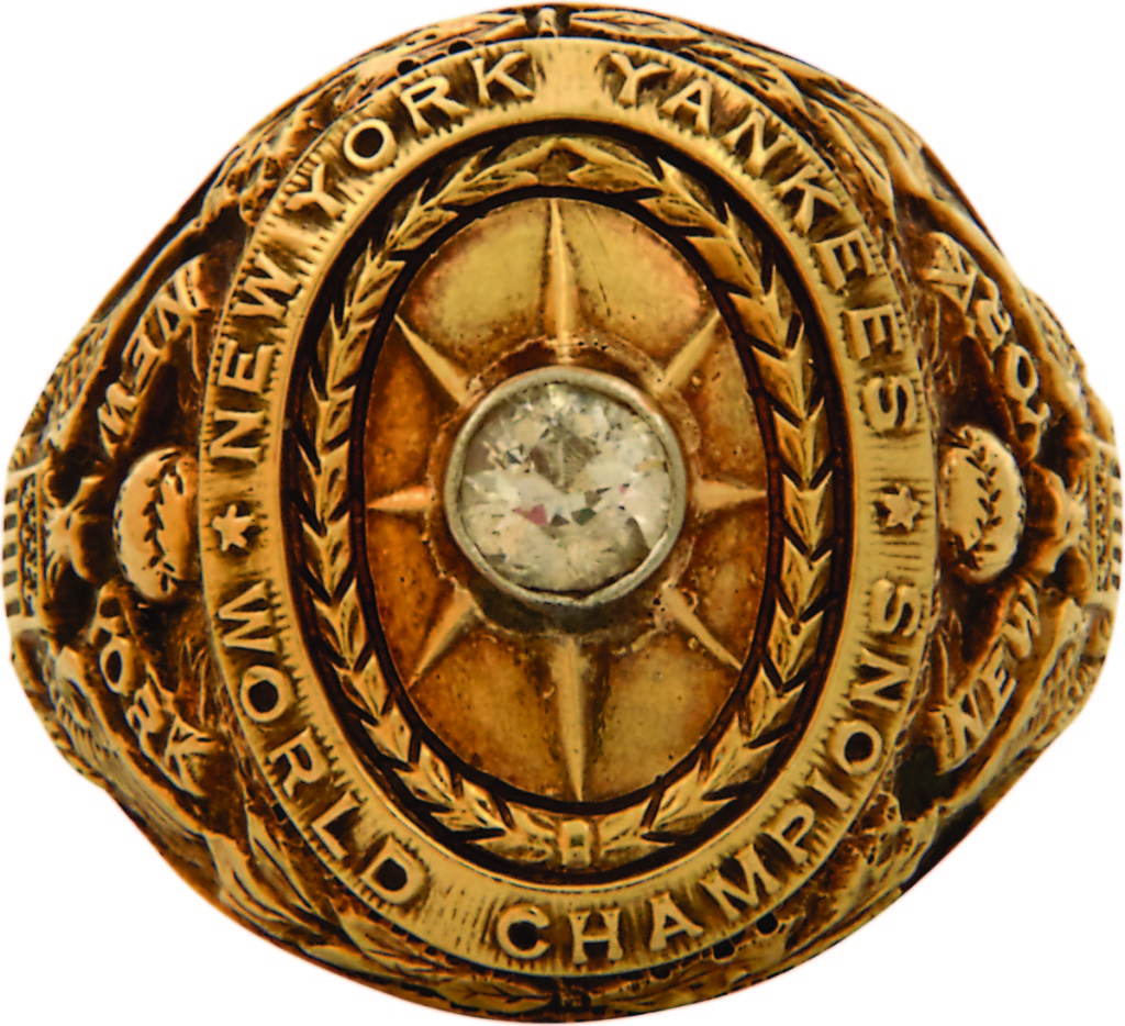 Babe Ruth's 1927 World Series championship ring won with the New York Yankees brought $2,093,926. The ring came out of the collection of actor Charlie Sheen, and before him, Barry Halper.