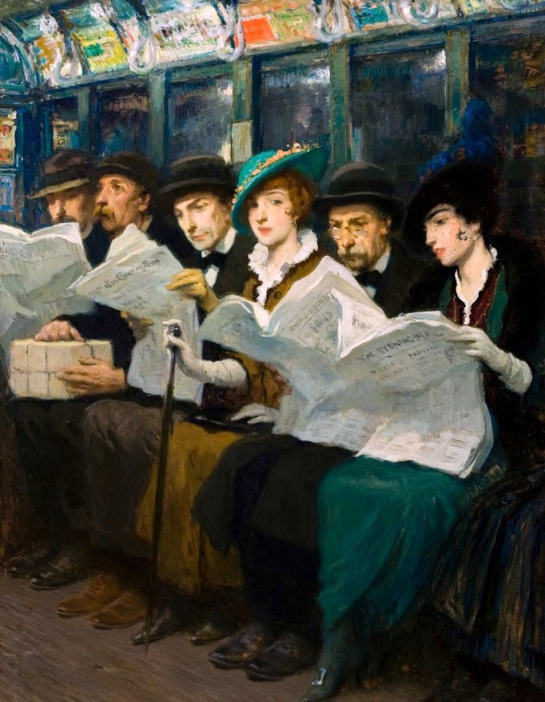 """Evening News,"" 1914, Francis Luis Mora, oil on canvas, 48 by 36 inches, ACA Galleries."