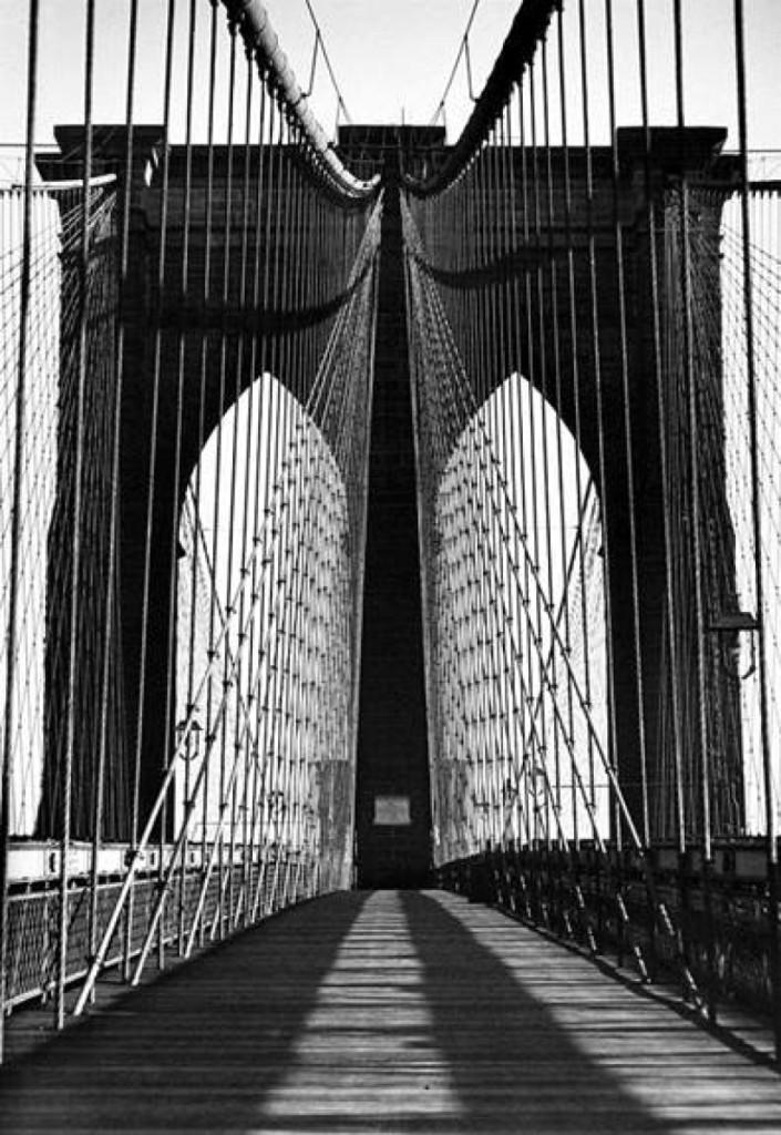 """Brooklyn Bridge,"" 1945, Harold Roth, gelatin silver print, 14 by 11 inches, Howard Greenberg Gallery, New York."