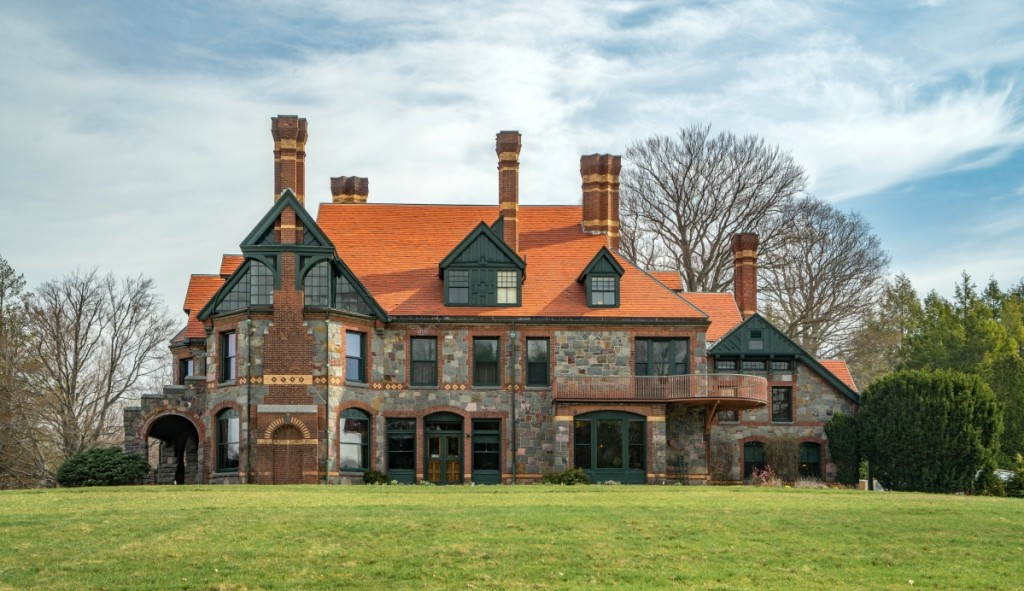 Architect William Ralph Emerson, a distant cousin of the Transcendentalist, completed his plan for the Eustis House in 1878. Emerson sited the romantic, asymmetrical structure on a rise that afforded its occupants a 360-degree view of the landscape designed by Ernest Bowditch.
