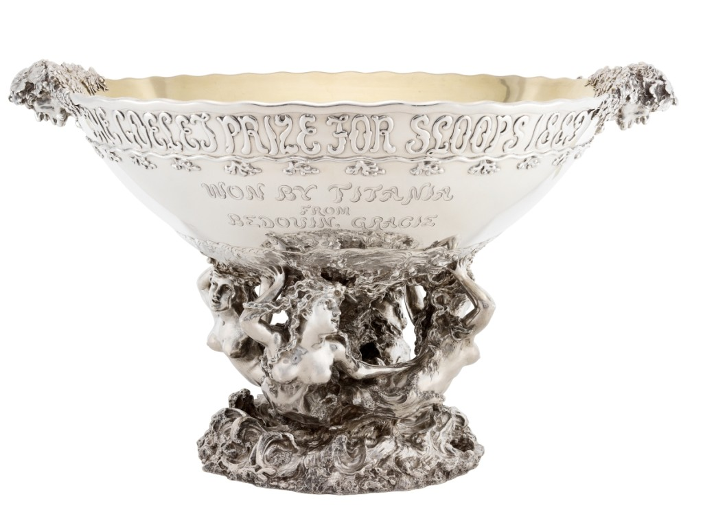 Tiffany & Co., Goelet Prize for Sloops, 1889, sterling silver and gilding; Museum of the City of New York, gift of Mrs C. Oliver Iselin.