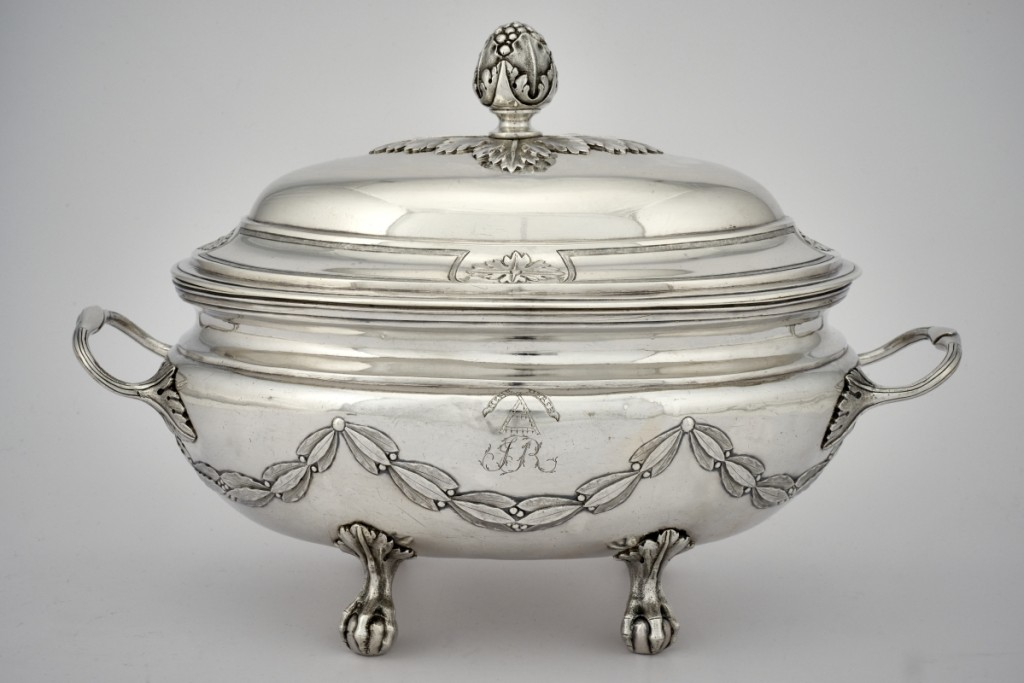 Tureen with the crest of the Hertel de Rouville family by Laurent Amiot (1764–1839), 1793–94. Silver. This vessel by a Paris-trained smith was hailed as the most significant piece of Canadian silver when Waddington's offered it in 2015.