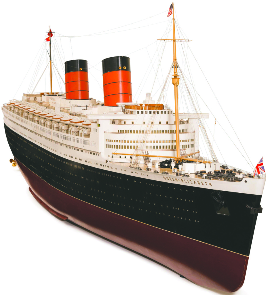 "Curators describe this example as ""the apex of ocean-liner exhibition models."" Its 22-foot-long hull is carved from a single log of African obeche and it took a team of five men 12 weeks to complete. Model of Queen Elizabeth by Bassett-Lowke Ltd, 1947–48. White mahogany, gunmetal, and brass. Peabody Essex Museum —Kathy Tarantola photo"