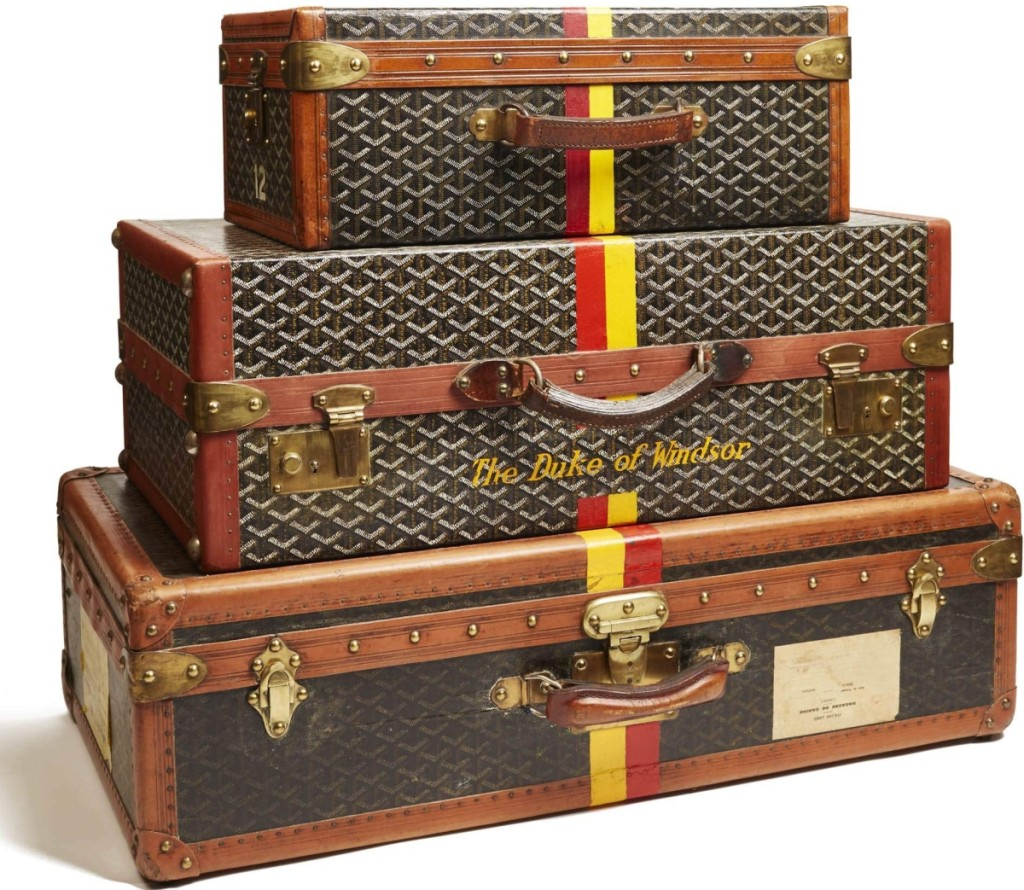 "Fashion scholar Michelle Tolini Finamore writes that ""a passenger's luggage was an extension of his or her ensemble, and Louis Vuitton or Goyard trunks were immediate markers of socioeconomic status."" Luggage owned by the Duke and Duchess of Windsor by Maison Goyard, Paris, about 1940s. Coated and painted canvas, leather, brass and wood. Miottel Museum.                 —Luke Abiol photo"