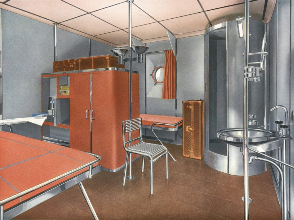 In 1934, French designer Rene Herbst organized a design competition for cabin furnishings made completely from stainless steel. Inventive though the designs were, they proved impractical because of the weight and structural limits of steel at the time. First-class steel cabin design by René Herbst, 1935. Phillips Library, Peabody Essex Museum. —Jarrod Staples photo