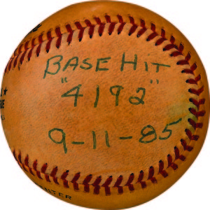 The ball that broke the record. This was Pete Rose's 4,192-career hit, which thrust him past Ty Cobb for the all time hits record. According to Lelands, it was also the first piece of sports memorabilia to be sold for a six-figure sum back in 1987, only two years after Rose broke the record. The ball only appreciated in value, pulling in $403,657.