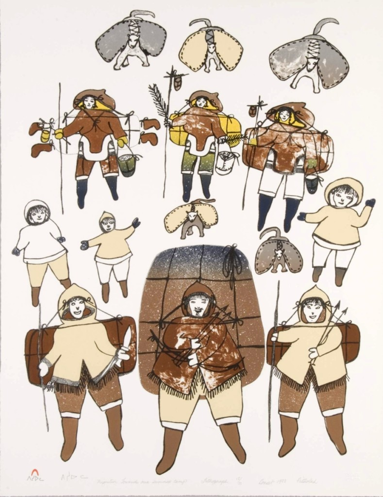 "Pitseolak Ashoona (Inuit, 1904–1983), ""Migration towards Our Summer Camp,"" 1983 (released in 1984 folio), lithograph. Courtesy Dorset Fine Arts."