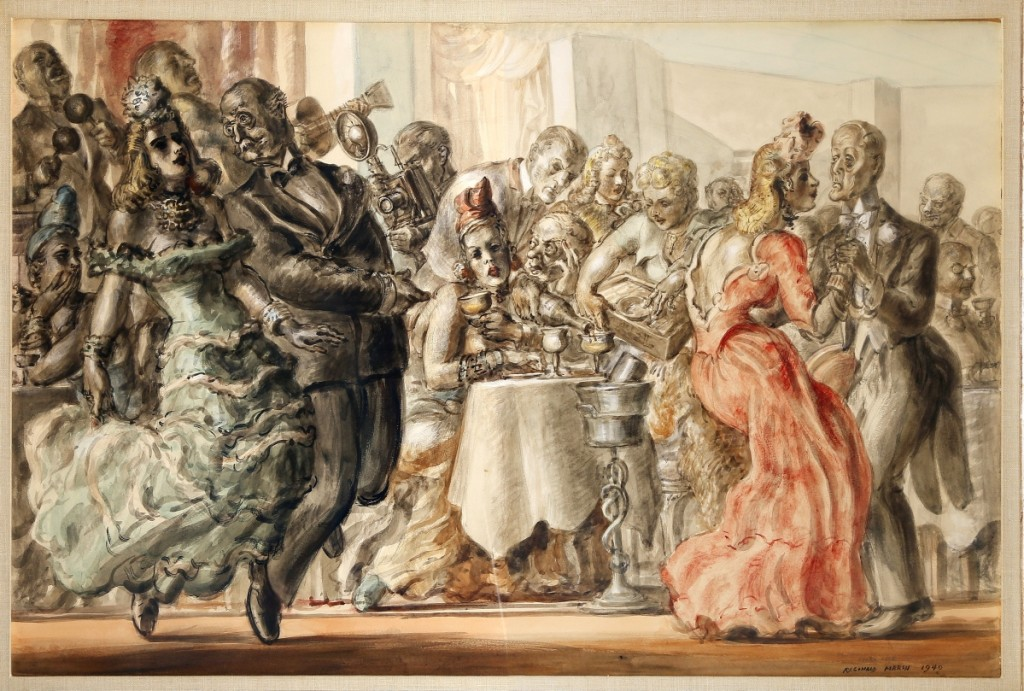 """""""Memories of the Stork Club,"""" 1940, Reginald Marsh, watercolor on paper, 26½ by 40 inches, private collection."""