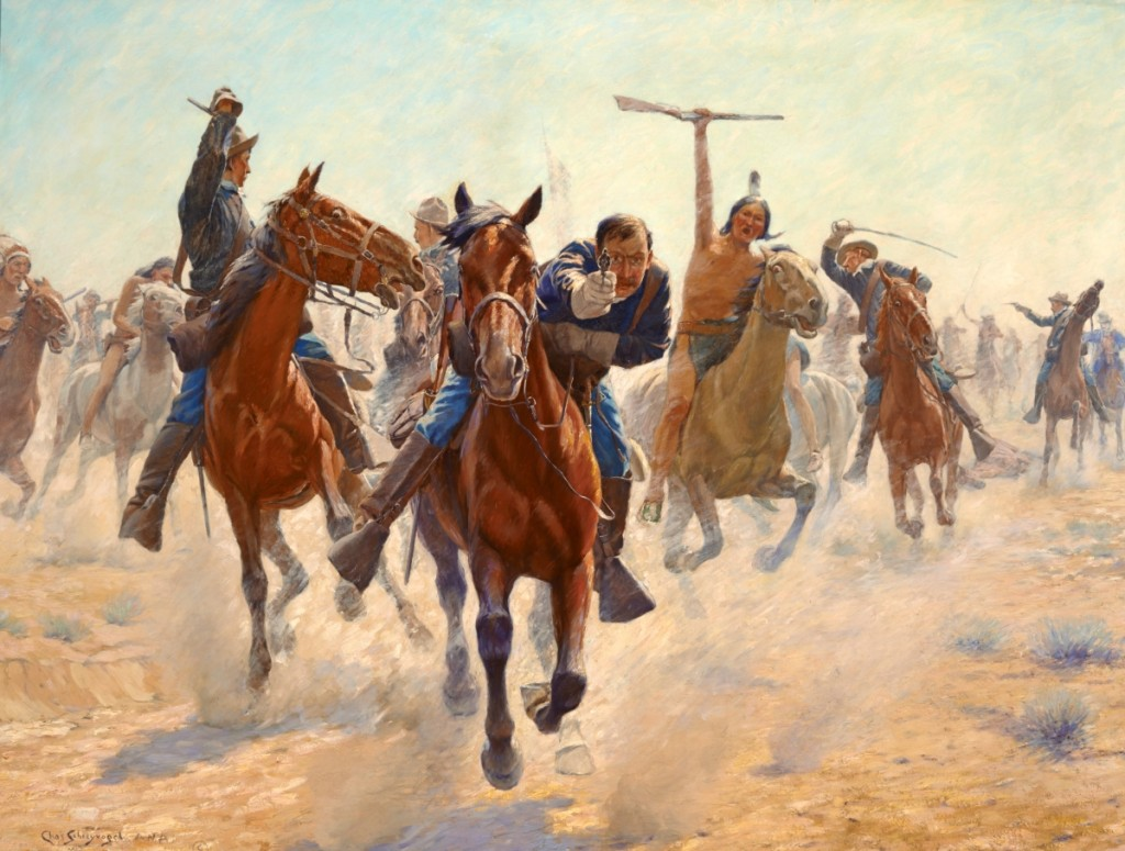 """Breaking Through the Line"" by Charles Schreyvogel (1861–1912), no date. Oil on canvas, 46¼ by 58-  inches. Gilcrease Museum"