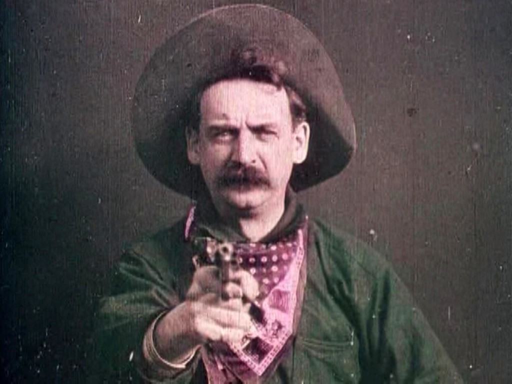 Justus D. Barnes in The Great Train Robbery, directed by Edwin S. Porter (uncredited), Edison Manufacturing Company, 1903.