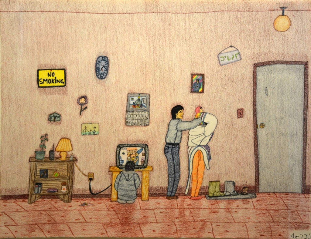 "Annie Pootoogook (Inuit, 1969–2016), ""Watching the Simpsons on TV,"" 2003, pencil, ink, pencil crayon 20 by 26 inches. Courtesy Edward J. Guarino Collection."